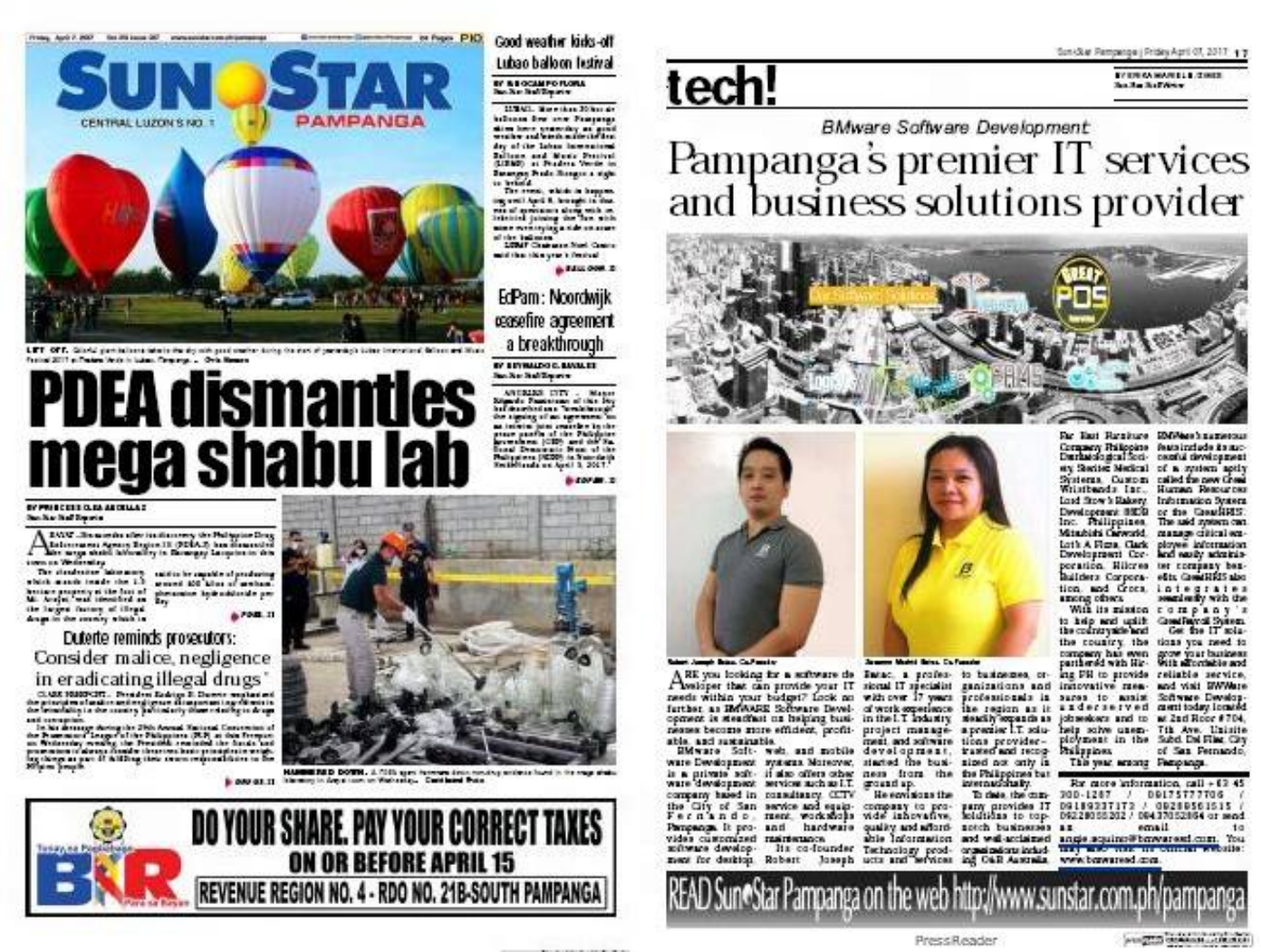 BMWare Featured in Sun Star Pampanga